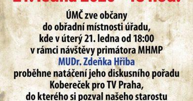 V pražských Řeporyjích se 21. ledna uskuteční setkání s primátorem Zdenkem Hřibem.