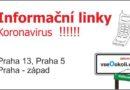 Koronavirus - Praha 5, Praha 13 a Praha - západ