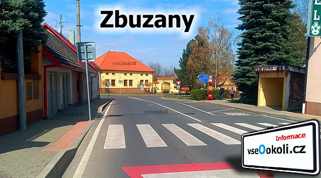 Zbuzany, pohled na obecní úřad v ulici Na Návsi 1