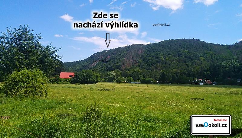 Zde se nachzí vyhlídka. Pohled z cyklostezky kousek od Všenor a železničního viaduktu.